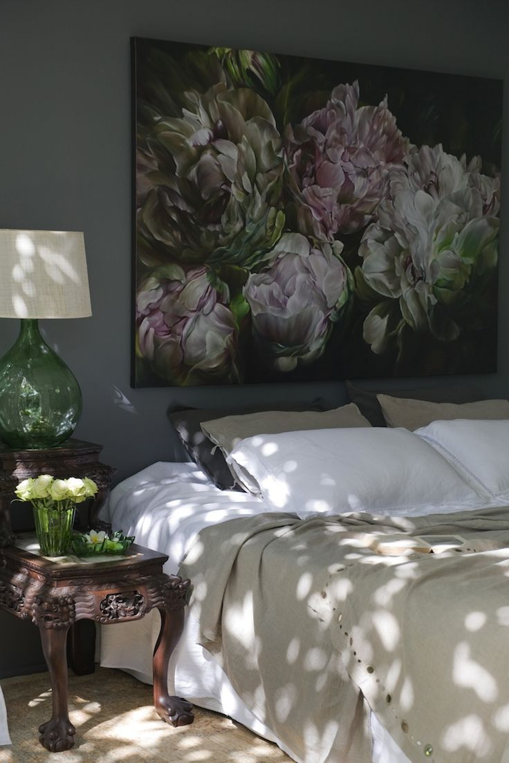 bold colorful art in the bedroom