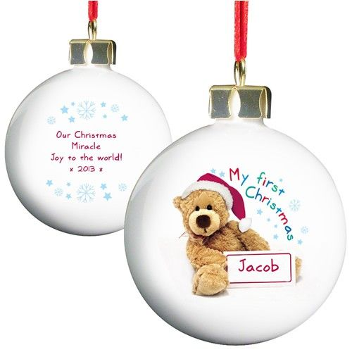 Personalised Teddy 1st Christmas Bauble  from Personalised Gifts Shop - ONLY £10.99