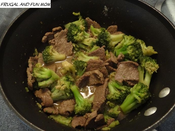 1/2 pound of Thin SlicedTop Round Steak cut into small pieces  4 cups of Frozen Broccoli  2 Tbsp of Soy Sauce (I used the less sodium version)  2 Tsp of Sugar  1 Tbsp of Olive Oil  2 Tsp of Flour  1/4 Tsp of Onion Powder