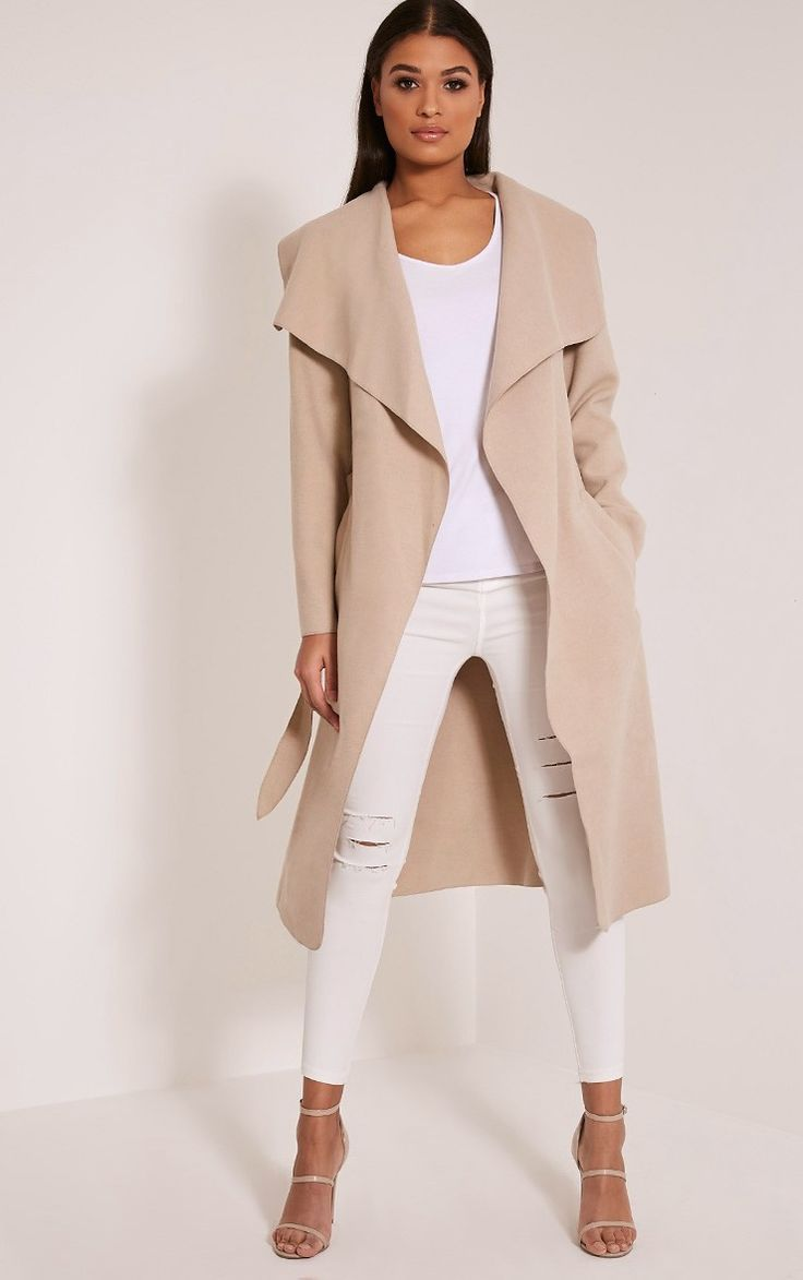 Veronica Beige Oversized Waterfall Coat Image 1 £20