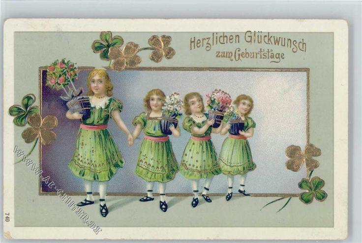 Vierlinge Mädchen mit Blumentöpfe , Glücksklee , Golddruck: Ansichtskarten-Center Onlineshop
