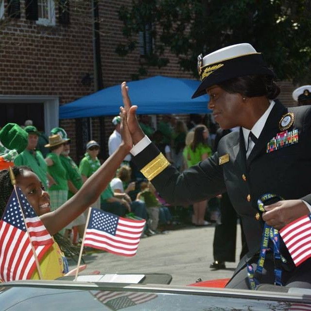 Commander, Navy Recruiting Command Rear Adm. Annie B. Andrews, attends the 191st St. Patrick's Day Parade in Savannah, Georgia.