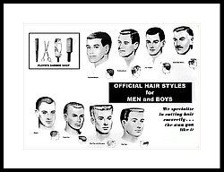 Vintage Barber Haircut Poster Framed Print by Action