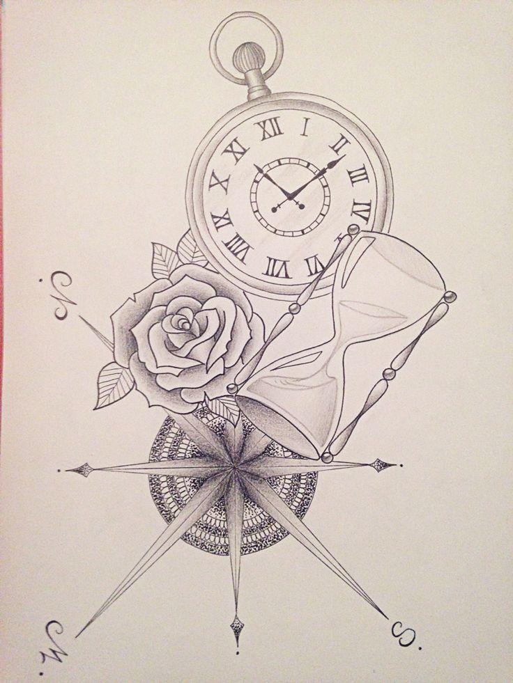 Boussole, rose, sablier, montre