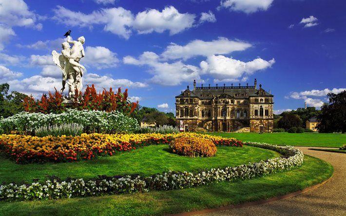 Scarica sfondi Dresda, palazzo, scultura, HDR, parco, Germania