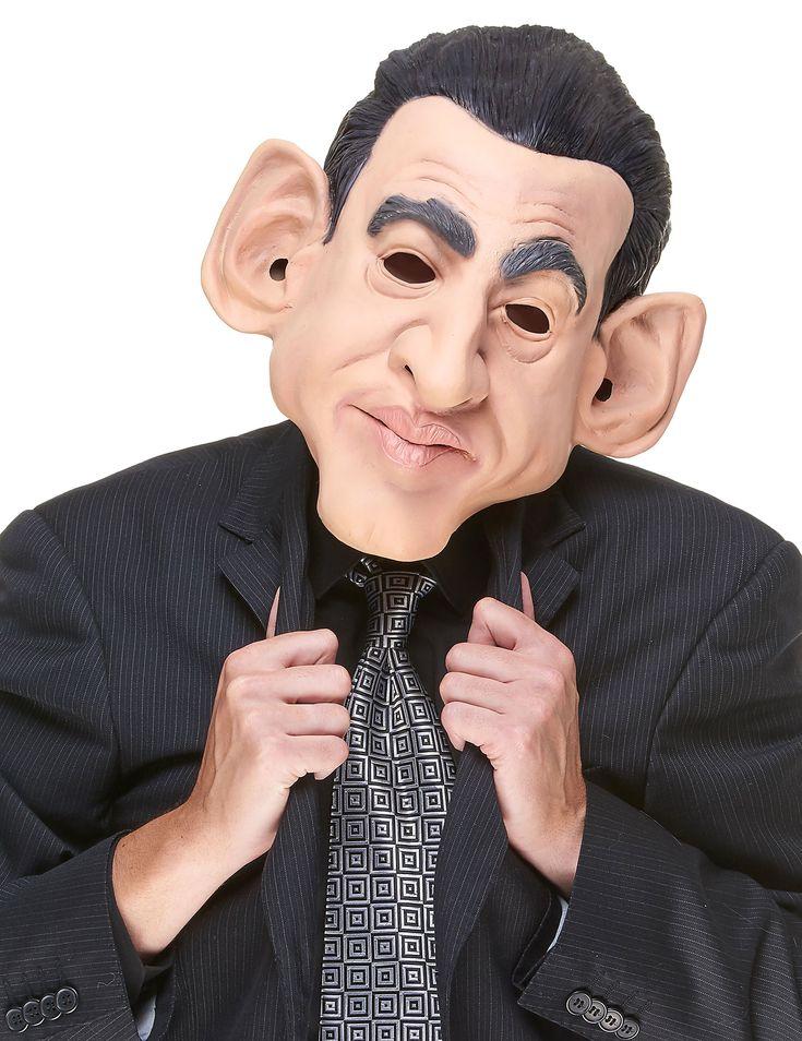 Máscara humorística látex Nicolás adulto: Esta máscara integral de látex es para adulto.Es la caricatura del rostro del ex Presidente de Francia.Las orejas, ojos, nariz y boca tienen orificios.Dale el toque final a tus...