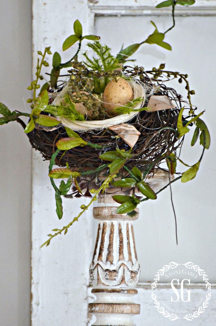 SPRING MANTEL-nest on chippy candlestick-stonegableblog.com