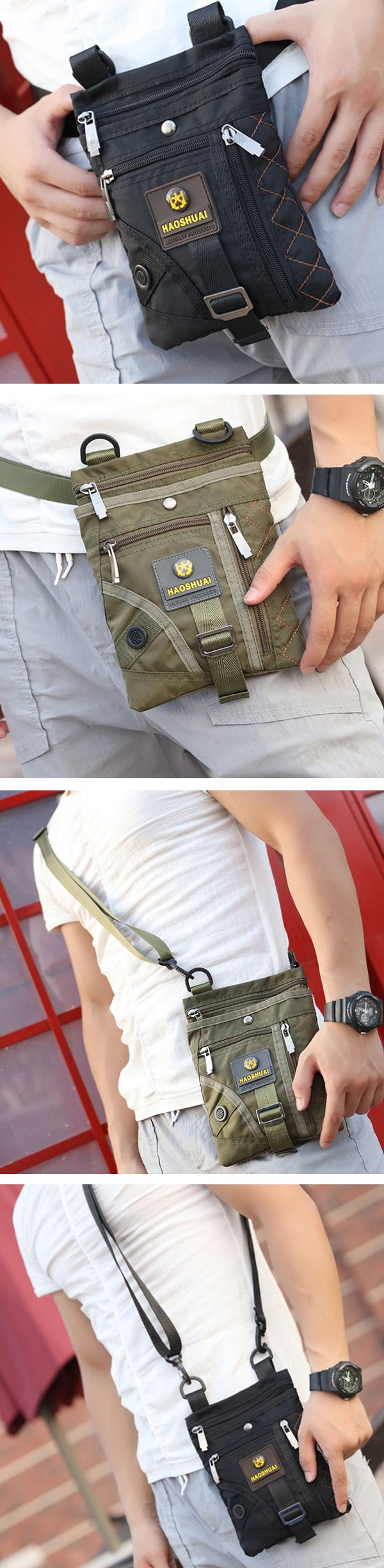 Men Nylon Waterproof Vertical Crossboby Bag Light Weight Casual Travel Shoulder Bag Weekend Bag