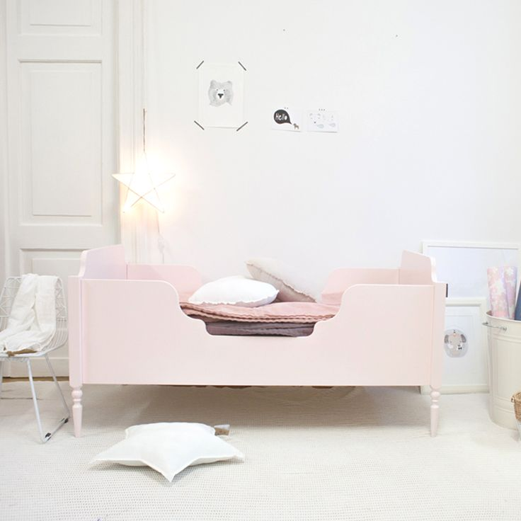 Pink kids bed. Girly, pastel room.