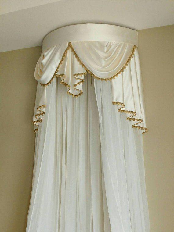 Corona Blanca Rosa Dosel Chic muebles Niñas Princesa Voile Cortina Cama Cuna