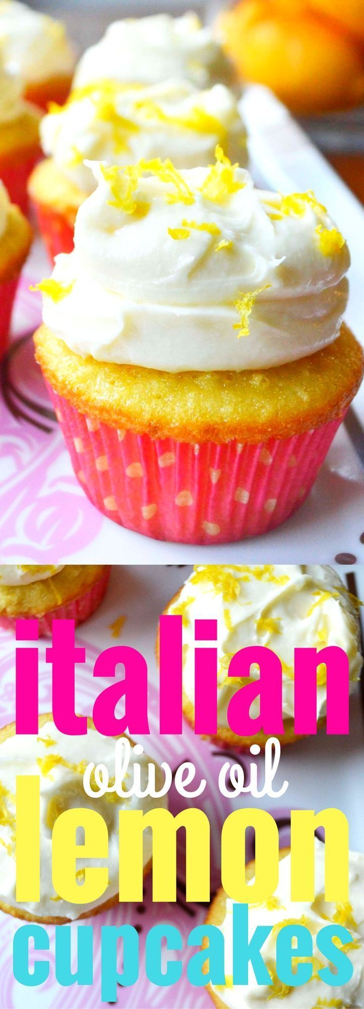 Italian Lemon Olive Oil Cupcakes with Sweet Cream Cheese and Ricotta Frosting. Fresh lemon zest, lemon juice, and olive oil makes this cupcakes extra moist and flavorful. The frosting is out of this world! http://www.modernhoney.com