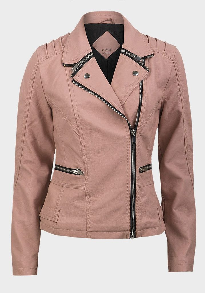Skinn jakke støv rosa