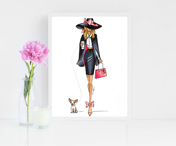 Girl and Dog Print, Fashion Girl Art, Working Girl Print, Fashion Illustration, Office Decor, Chihuahua Art, Salon Wall Art, Wall Art