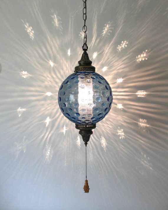 Hollywood Regency Italian Blue Glass Swag Lamp . by retrosymphony, $185.00