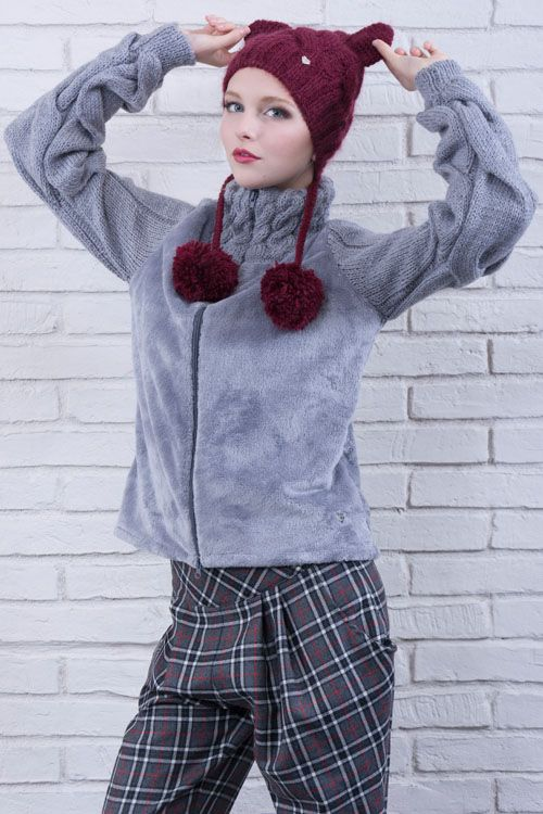 cod 142 & cod 176 hand made jacket made in italy grunge boho chic style faux fur plaid paint knit cat hat
