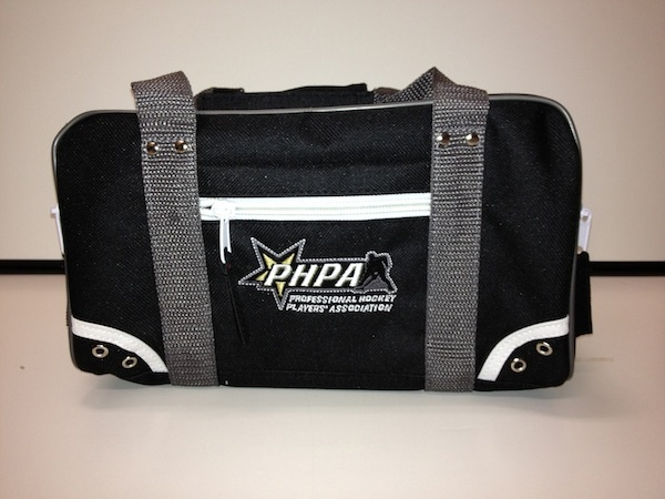"""PHPA Travel Bag produced by Ultimate Sports Kit.     Embroidered PHPA Primary logo on 2 sides, 2 side + 2 end zippered compartments, inner lining, inner zippered compartment.  (L x W x H approx: 11.5"""" x 5.5"""" x 5.5"""")"""
