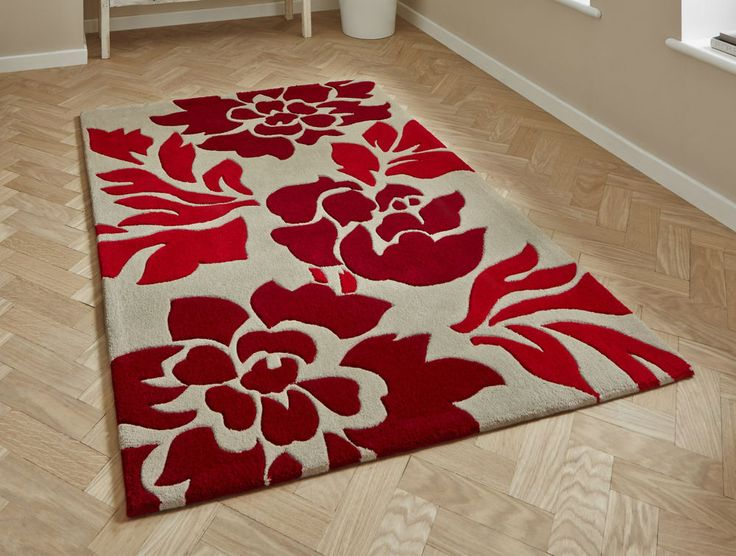 """Modern Beige Red Floral  Rug 150 x 230cm (4'9"""" x 7ft 5"""")-Hand Tufted Acrylic"""