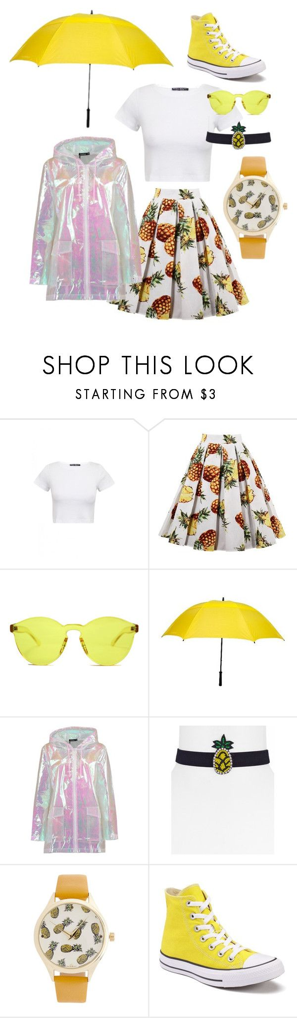 """Sunny Weather"" by grahamzn on Polyvore featuring RumbaTime, Futai, Boohoo, Aqua, Converse and rain"
