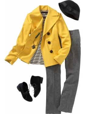 Old Navy Yellow Cropped Wool-Blend Peacoat. Like it paired with the stripped shirt and grey pants. Then add my yellow bag or black bag: Cute Coats, Fall Favorite, Clothing Shoes Fashion, Grey Yellow, Yellow Coats, Black And Gray Strips Jackets, Mustard Yellow, Fall Weather, Yellow Peacoats