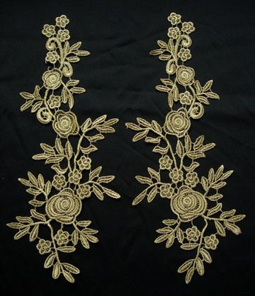 VT167 Long Mirror Pair Rose Floral Metallic Gold Trim Applique [VT167] - $8.50 : Angeltrim supply sequin bead applique, venice applique, chinese frog button, trim lace, hotfix rhinestone,garment accessories