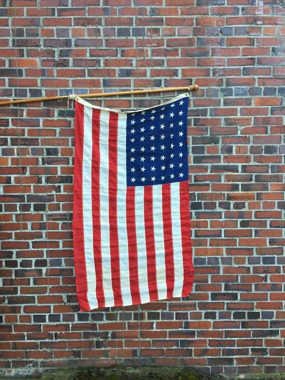 Vintage American Flag 48 Star Flag by ModernArtifactDecor on Etsy