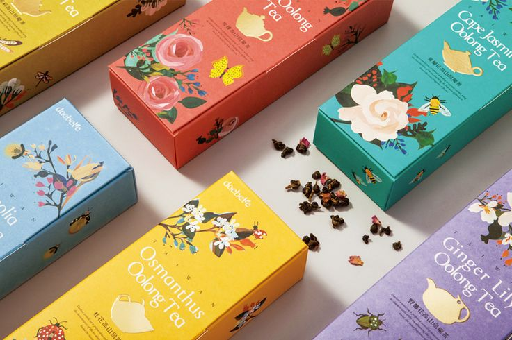 Illustrated packaging with gold foil print finish developed by Victor Design for tea brand Daebeté's new floral Scented Tea range