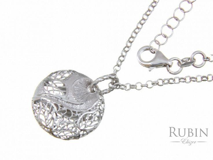 Ródiumos ezüst rolo nyaklánc medállal