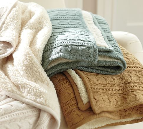 Don't forget camel colored sweater throw over the end of the bed! (Cozy Cable-Knit Throw | Pottery Barn)