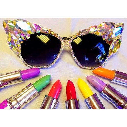 Super cute crystal sunnies by HerTinyTeeth.com surrounded by Lime Crime lippies!
