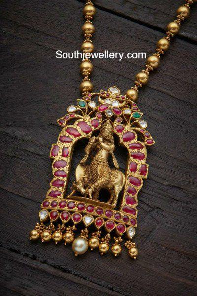 Gold Balls Chain with Lord krishna Pendant photo