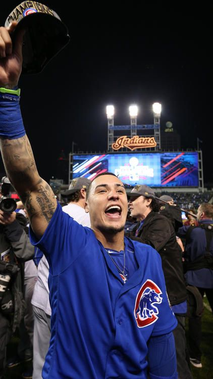 Chicago Cubs second baseman Javier Baez (9) celebrates after the Chicago Cubs defeated the Cleveland Indians on Nov. 3, 2016, to win the World Series.