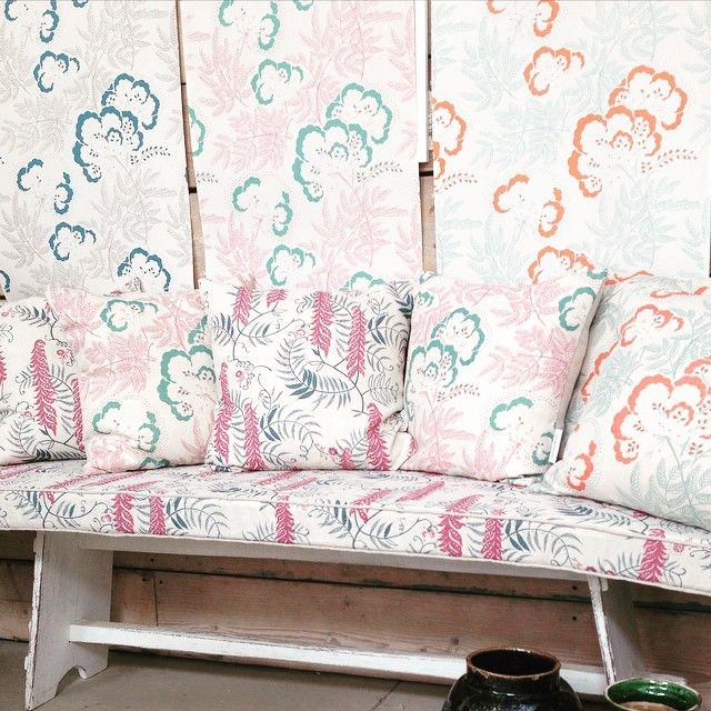 Cloud garden and meadows edge cushions and wallpaper by rapture and wright ready to go to