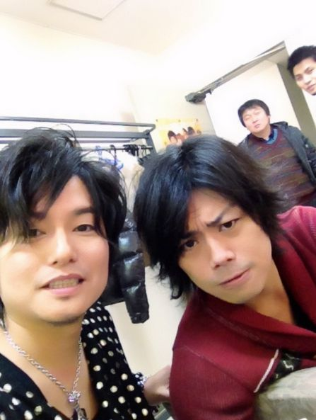 """Morikubo Shotaro san and I tried to take a two-shot using the whitening app"" posted by Namikawa Daisuke -san. from http: //ameblo.jp/namikawa--daisuke (Dec 2014) <3"
