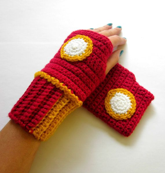 The Original Iron Man Inspired Power Wristees. Wristwarmers. Superhero Fingerless Gloves. Crochet Avengers Marvel Comics Accessory. Cosplay.