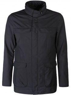 Armani Collezioni Quilted Shell Jacket Navy - Quilted shell jacket from Armani Collezioni is water resistant and features a collar with concealed drawstring hood, concealed zip and press stud fastening at front and four flap pockets to front. It also features air vents at underarms, logo plaque situated to the left waist pocket and a interior pocket.