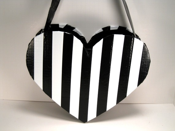 Heart-Shaped [unique duct tape] Purse ~black~white~gothic~lolita   Jenny The Artist: Jetpack Crafts
