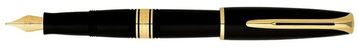 Waterman Charleston Ebony Black Gold Trim Fountain Pen. It is Elegant and beautiful, its reassuringly retro style and modern technology make the Charleston a pen for today.