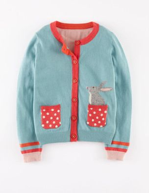"A cardigan with a bunny knitted into the pocket? Cutest thing ever. ""I finally have a pet!"" my daughter chirped. :) This is super soft, and since it is quite fitted, we went up a size. At this price, it is going to have to last a long time and be enjoyed by siblings."