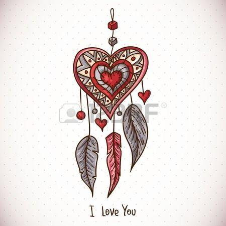 Tarjeta de felicitación del Doodle con atrapasueños y el corazón