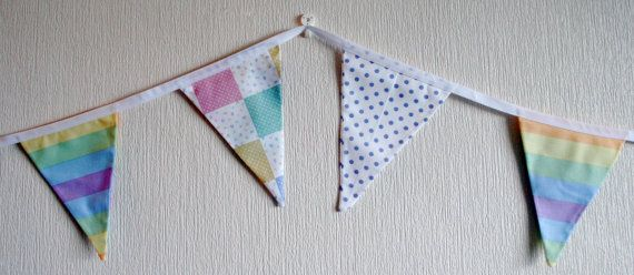 Pastel Rainbow Baby Bunting by BlossomvioletCrafts on Etsy