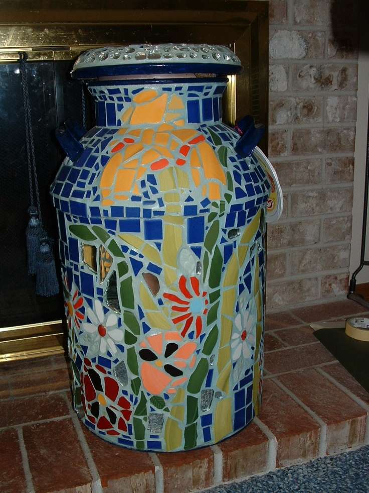Iris Milk Can (front). ~~Made by Diane Erickson~~ for sale this year at The Crackedpots Art Show, July 23 and 24 @ McMenamins Edgefield in Troutdale Oregon!!                          Sold