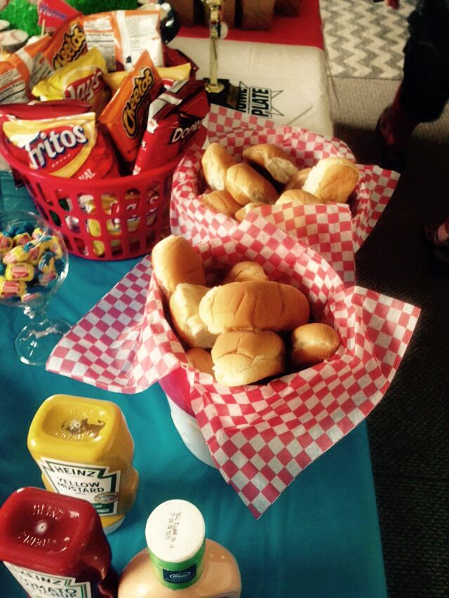 Baseball party food- hotdog bar!