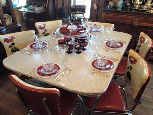 S Formica Extension Table Kitchen Set Red