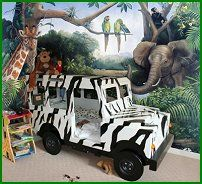 Where to find cool stuff for a themed bedrooom...like this safari-theme boys' room.