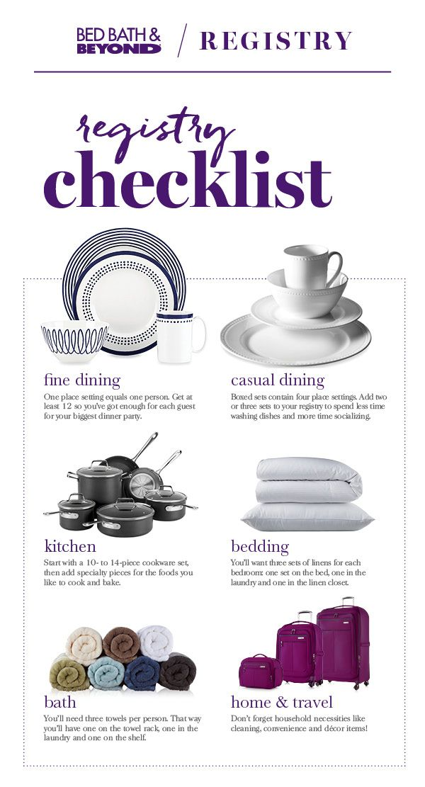 It's time to create a registry! Not sure where to start? Our registry checklist provides advice on the things you need, and how many you need, for every room in the house – things like how many dinnerware sets you'll need for all those holiday parties or how many bath towels you'll need so there are always plenty on the shelf, even after a long week without the time to do laundry.