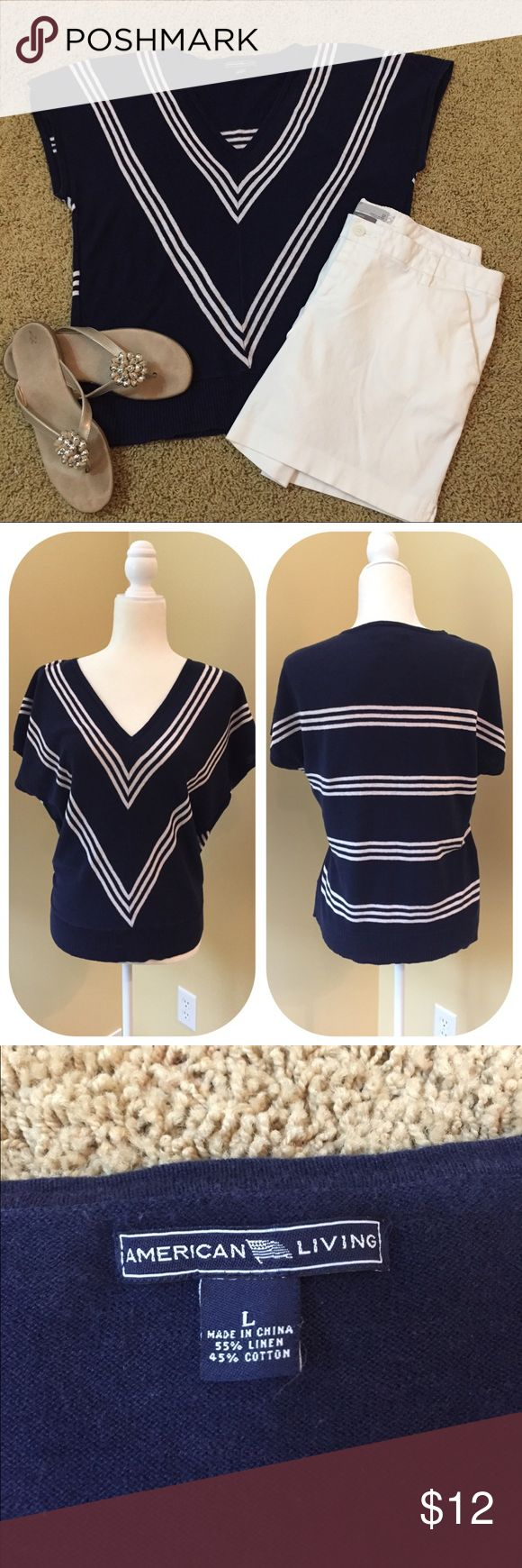 American Living Nautical Top Chevron navy and white strip front and horizontal stripe back. Sleeves sit just off the shoulder. This is a lightweight linen and cotton sweater type material. Gently used condition. Shows some very slight color fade but not enough to even capture in a photo. American Living Tops