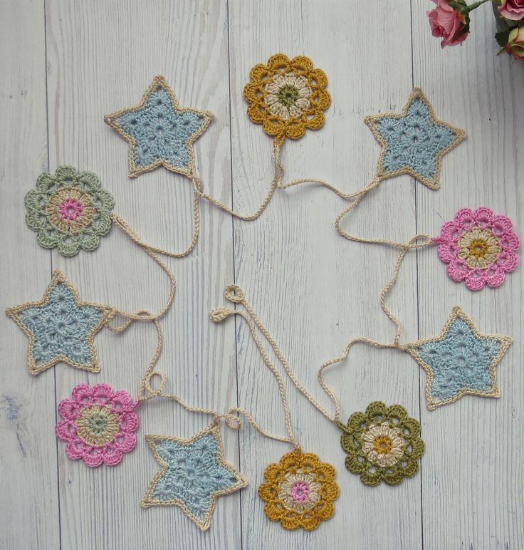 crochet stars and flowers garland