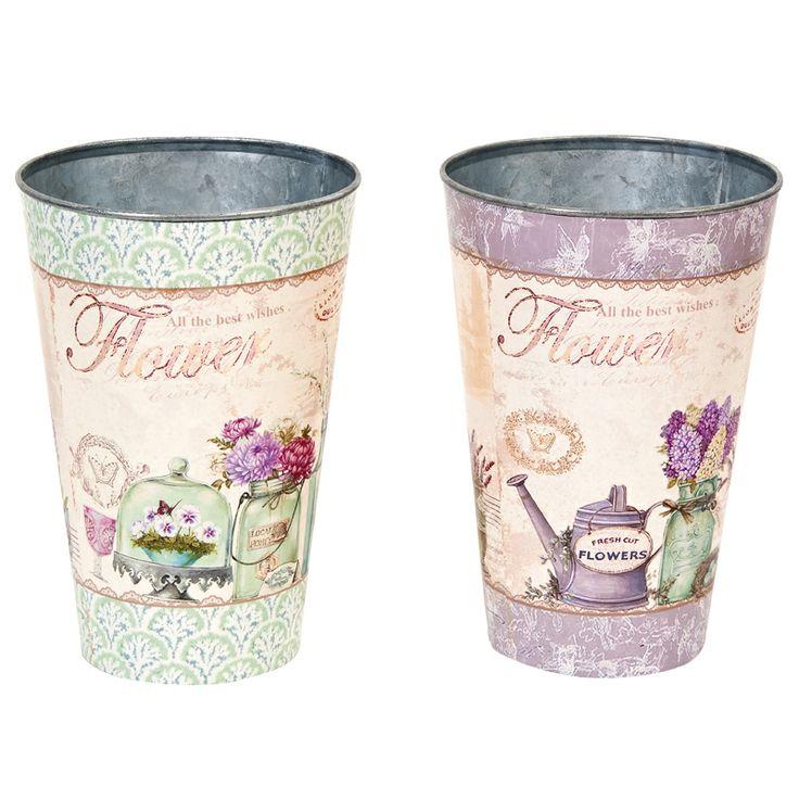 www.sconticasa.it  Set di due portavasi con forma a vaso in metallo decorato  In due diversi colori