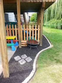 The Hotdish Mom: Under Deck Landscaping and Fenced Kids Play Area