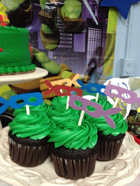 Ninja Turtle cupcake toppers-one dozen on Etsy, $10.00